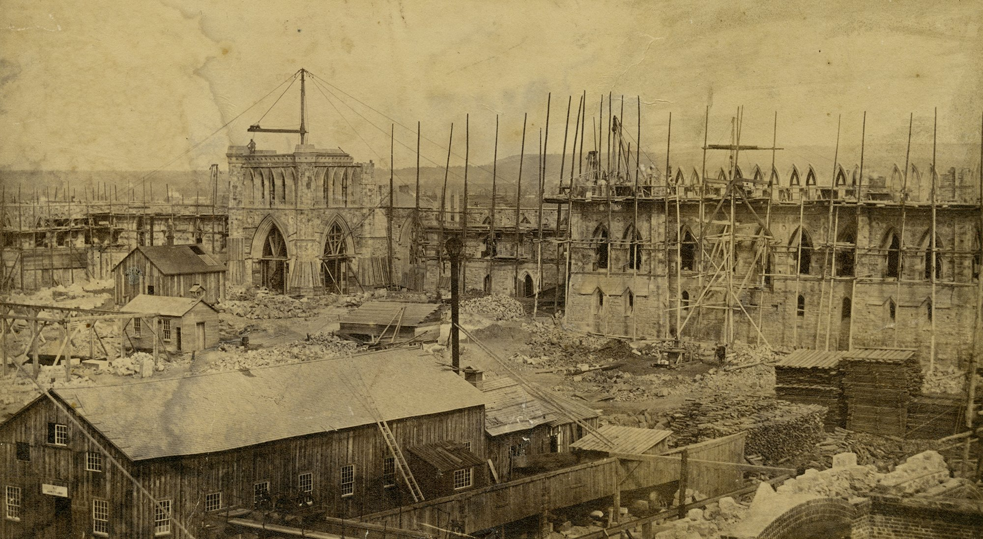 Parliament Buildings under construction as viewed by Nicholas Sparks, Ottawa, ca. 1859